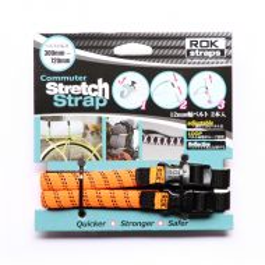 *ROK STRAPS* adjustable stretch straps (orange/reflective)