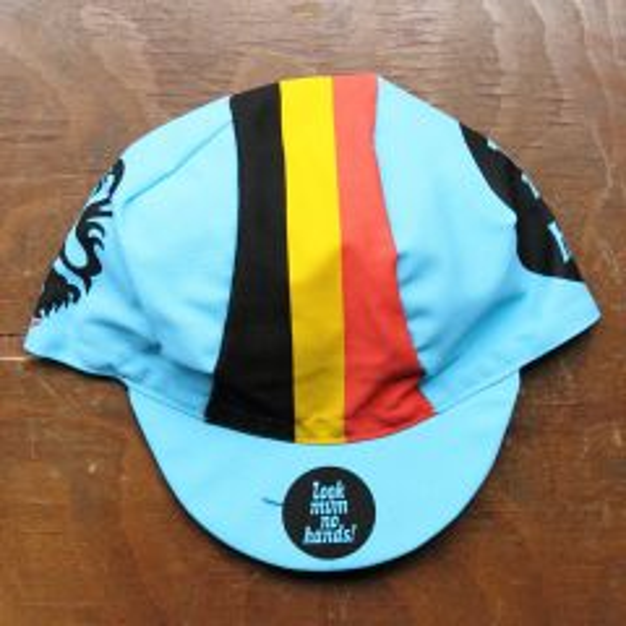 *LOOK MUM NO HANDS* Belgian Stripe Cycling Cap
