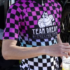 *TEAM DREAM* check fade meowchelin cat jersey (pink)